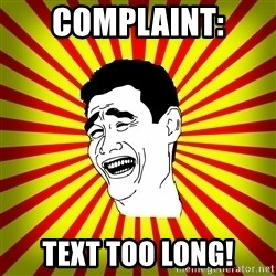 Yao Ming trollface - Complaint: Text too long!