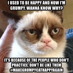Grumpy Cat 2 - I used to be happy and now I'm grumpy. Wanna know why? It's because of the people who don't practice. Don't be like them #makegrumpycathappyagain
