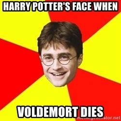 cheeky harry potter - harry potter's face when  Voldemort dies