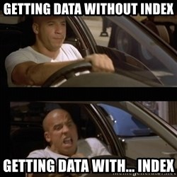Vin Diesel Car - Getting Data without Index Getting Data with... index