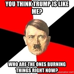 Advice Hitler - you think trump is like me?  who are the ones burning things right now?