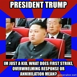 kim jong un - President Trump Im just a kid, what does First Strike, Overwhelming Response or Annihilation mean?