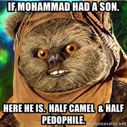 Rape Ewok - if mohammad had a son. here he is.  half camel  & half pedophile.