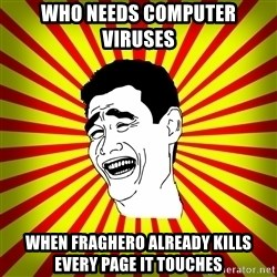 Yao Ming trollface - Who needs computer viruses When FRAGhero already kills every page it touches