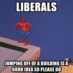 Spiderman12345 - liberals jumping off of a building is a good idea so please do