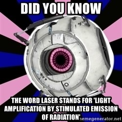 """Did you know"" Fun Fact sphere  - Did you know the word laser stands for 'Light Amplification by Stimulated Emission of Radiation'"