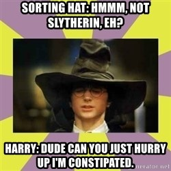 Harry Potter Sorting Hat - Sorting Hat: Hmmm, not Slytherin, eh? Harry: Dude can you just hurry up I'm constipated.