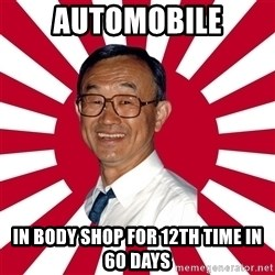 Crazy Perverted Japanese Businessman - automobile in body shop for 12th time in 60 days