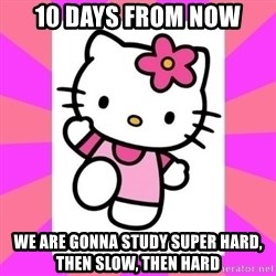 Hello Kitty - 10 days from now We are gonna study super hard, then slow, then hard