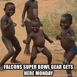 Dancing african boy -  Falcons super bowl gear gets here Monday