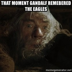 gandalf run you fools closeup - That moment gandalf remebered the eagles