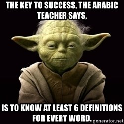 ProYodaAdvice - THE KEY TO SUCCESS, THE ARABIC TEACHER SAYS, IS TO KNOW AT LEAST 6 DEFINITIONS FOR EVERY WORD.