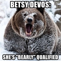 """Clean Cocaine Bear - BEtsy DeVos: She's """"bearly"""" qualified"""