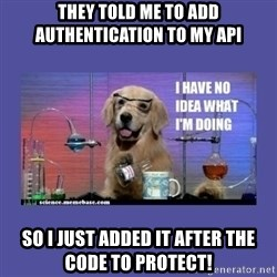 I don't know what i'm doing! dog - They told me to add authentication to my api so i just added it after the code to protect!