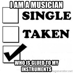 single taken checkbox - i am a musician who is glued to my instruments