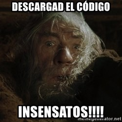 gandalf run you fools closeup - DESCARGAD EL CÓDIGO INSENSATOS!!!!