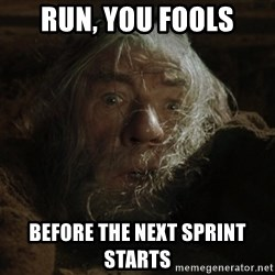 gandalf run you fools closeup - run, you fools before the next sprint starts