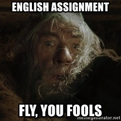 gandalf run you fools closeup - english assignment Fly, you fools