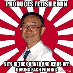 Crazy Perverted Japanese Businessman - Produces fetish porn sits in the corner and jerks off during each filming