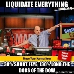 Mad Karma With Jim Cramer - LiquidAte eveRYthing 30% short feye; 130% long the dogs of the Dow