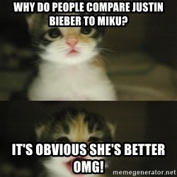 Adorable Kitten - Why do people compare Justin bieber to MIKU? It's Obvious SHE's better omg!
