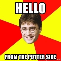 cheeky harry potter - hello  from the potter side