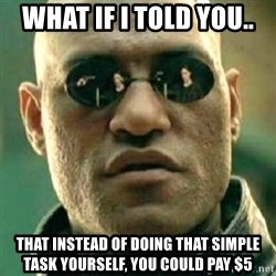 what if i told you matri - what if I told you.. That instead of doing that simple task yourself, you could pay $5