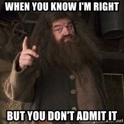 Hagrid - when you know i'm right but you don't admit it