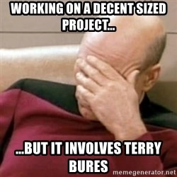 Face Palm - working on a decent sized project... ...but it involves Terry bures