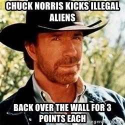 Brutal Chuck Norris - chuck norris kicks illegal aliens back over the wall for 3 points each