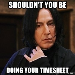 Professor Snape - Shouldn't you be  doing your timesheet