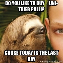 Whispering sloth - Do you like to buy     Uni-Trier Pulli? Cause today is the last day