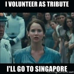 I volunteer as tribute Katniss - I volunteer as tribute i'll go to singapore