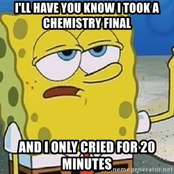 Only Cried for 20 minutes Spongebob - I'LL HAVE YOU KNOW I TOOK A  CHEMISTRY FINAL AND I ONLY CRIED FOR 20 MINUTES