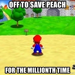 Mario looking at castle - off to save peach for the millionth time