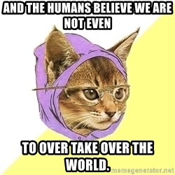 Hipster Kitty - And the Humans believe WE ARE NOT EVEN  To over take over the world.