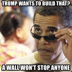 Obamawtf - Trump wants to build that? A wall won't stop anyone