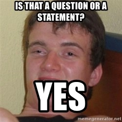 Stoner Guy - Is that a quEstion Or a statement? Yes