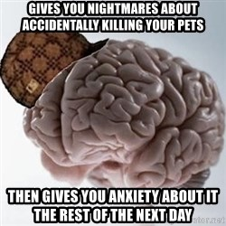 Scumbag Brain - Gives you nightmares about ACCIDENTALLY killing your pets Then gives you anxiety about it the rest of the next day