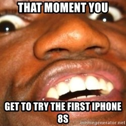 Wow Black Guy - that moment you get to try the first iPhone 8s