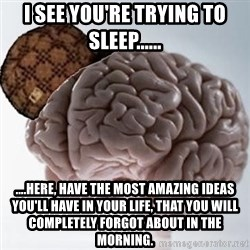 Scumbag Brain - I see you're trying to sleep...... ....Here, have the most amazing ideas you'll have in your life, that you will completely forgot about in the morning.