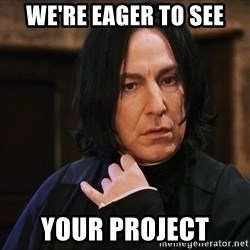 Professor Snape - We're eager to see Your project