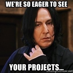 Professor Snape - we're so eager to see your projects...