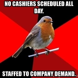 Retail Robin - no cashiers scheduled all day. Staffed to company demand.