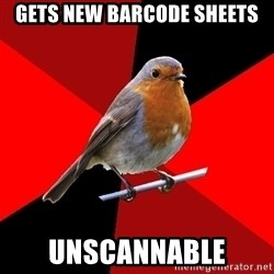 Retail Robin - Gets new barcode sheets Unscannable
