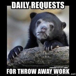 sad bear - daily requests for throw away work
