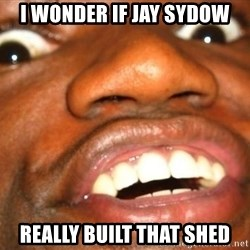 Wow Black Guy - I wonder if jay sydow Really built that shed