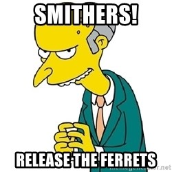 Mr Burns meme - SMITHERS! RELEASE THE FERRETS
