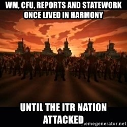 until the fire nation attacked. - WM, CFU, reports and statework once lived in Harmony Until the ITR nation attacked