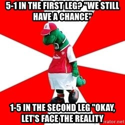 """Arsenal Dinosaur - 5-1 in the first leg? """"we still have a chance"""" 1-5 in the second leg """"okay, let's face the reality"""